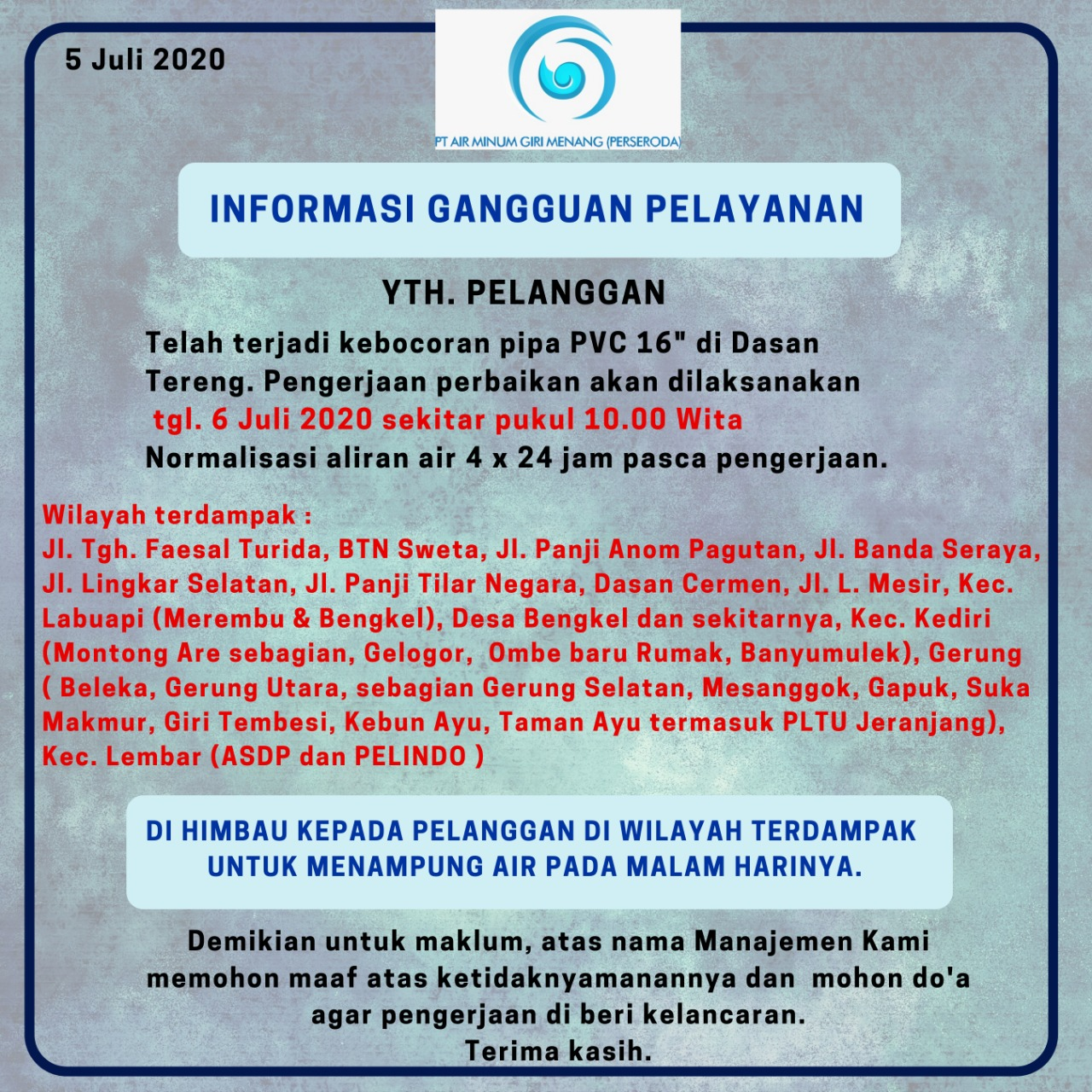 Informasi Gangguan Pelayanan PT AMGM