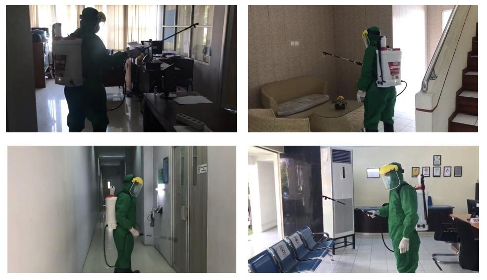 Kegiatan sterilisasi kantor dengan cara menyemprotkan desinfektan keseluruh ruangan