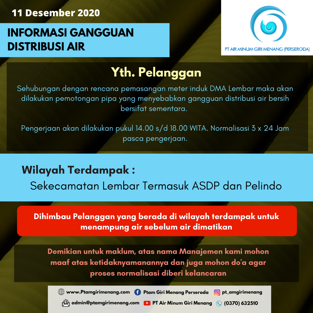 Informasi Gangguan Distribusi Air