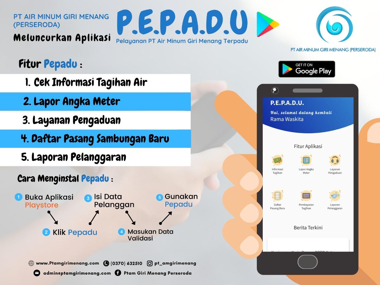 Aplikasi PEPADU PT Air Miinum Giri Menang